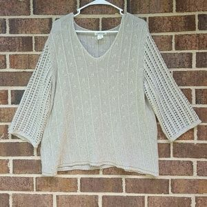 Orvis XL Knitted Tan Sweater Cableknit Crochet